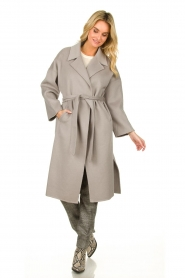 Clairval |  Wool wrap coat Lou | grey  | Picture 2