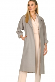 Clairval |  Super soft wrap coat Lou | grey  | Picture 5