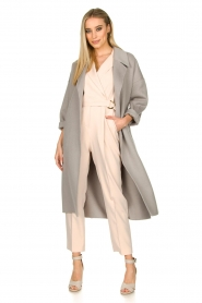 Clairval |  Super soft wrap coat Lou | grey  | Picture 3