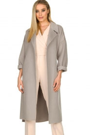 Clairval |  Super soft wrap coat Lou | grey  | Picture 4