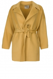 Clairval |  Super soft wrap coat Alice | yellow   | Picture 1
