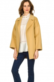 Clairval |  Super soft wrap coat Alice | yellow   | Picture 4