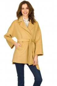 Clairval |  Super soft wrap coat Alice | yellow   | Picture 2