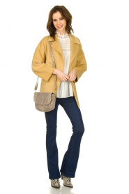 Clairval |  Super soft wrap coat Alice | yellow   | Picture 3