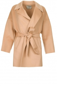 Clairval |  Super soft wrap coat Alice  | camel  | Picture 1