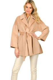 Clairval |  Super soft wrap coat Alice  | camel  | Picture 2