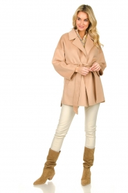 Clairval |  Super soft wrap coat Alice  | camel  | Picture 3