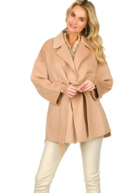 Clairval |  Super soft wrap coat Alice  | camel  | Picture 4