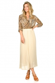 JC Sophie |  Long pleated skirt Deloris | beige  | Picture 4