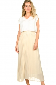 JC Sophie |  Long pleated skirt Deloris | beige  | Picture 5
