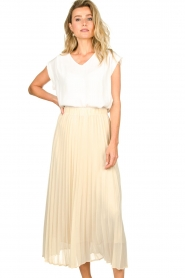 JC Sophie |  Long pleated skirt Deloris | beige  | Picture 2