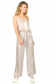 JC Sophie |  Belted wide leg trousers Darwin | grey  | Picture 2