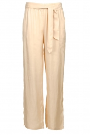 JC Sophie |  Belted wide leg trousers Darwin | beige  | Picture 1