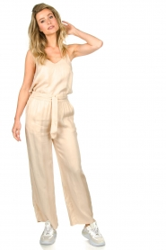 JC Sophie |  Belted wide leg trousers Darwin | beige  | Picture 3