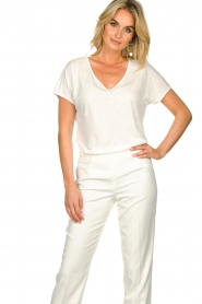 JC Sophie |  Linen T-shirt Dora | white  | Picture 2
