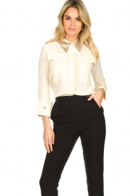 ELISABETTA FRANCHI    Blouse with metallic collar Toxic   natural     Picture 4