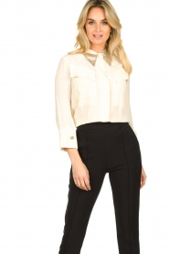 ELISABETTA FRANCHI    Blouse with metallic collar Toxic   natural     Picture 2