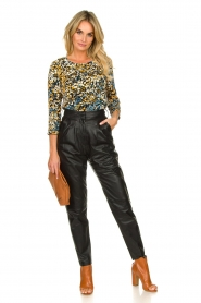 Ibana |  Non-stretch leather pants | black  | Picture 2