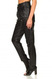 Ibana |  Non-stretch leather pants | black  | Picture 5
