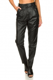 Ibana |  Non-stretch leather pants | black  | Picture 4