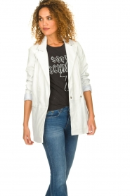 Ibana |  Leather blazer Novie | white  | Picture 2