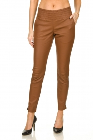 Ibana |  Leather pants Colette | camel  | Picture 2