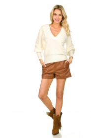 Ibana |  Brown leather short Feast | camel  | Picture 7