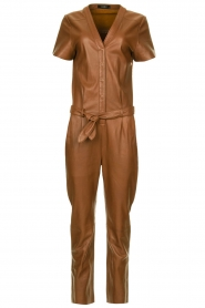 Ibana |  Leather jumpsuit Tamar | camel  | Picture 1