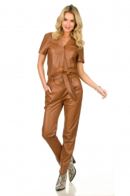 Ibana |  Leather jumpsuit Tamar | camel  | Picture 3