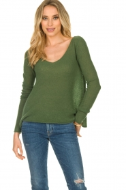 American Vintage |  Finely knitted wool sweater Nani | green  | Picture 2