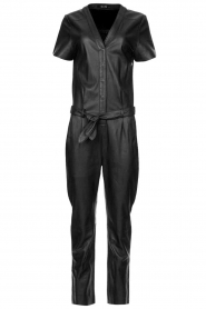 Ibana |  Leather jumpsuit Tamar | black  | Picture 1
