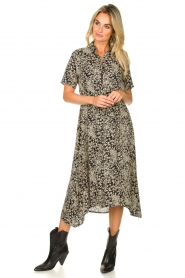 Lolly's Laundry |  Printed midi dress Blake | black  | Picture 3