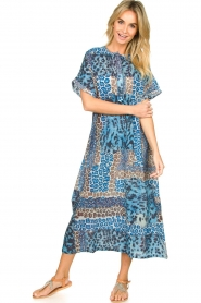 Moment by Moment |  Leopard printed kaftan Harleem | blue  | Picture 3