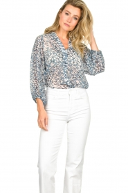 Second Female :  Print blouse Clouds | blue - img2