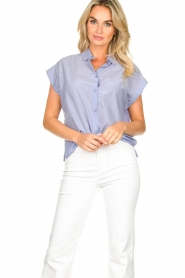 Second Female |  Cotton blouse Auso | blue  | Picture 2