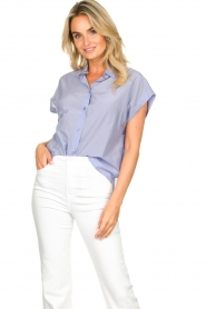 Second Female |  Cotton blouse Auso | blue  | Picture 4