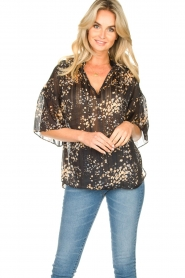 Second Female |  Print blouse Snora | black  | Picture 2