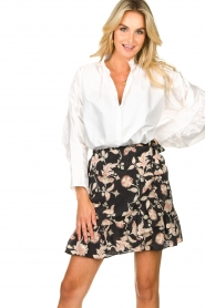 Second Female |  Floral wrap skirt Neo | black  | Picture 2