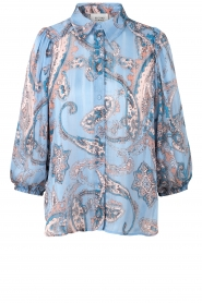 Second Female |  Print blouse with balloon sleeves Adelina | blue  | Picture 1