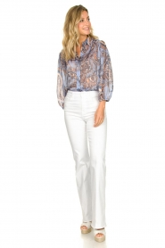 Second Female |  Print blouse with balloon sleeves Adelina | blue  | Picture 3