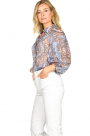 Second Female |  Print blouse with balloon sleeves Adelina | blue  | Picture 5
