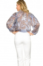 Second Female |  Print blouse with balloon sleeves Adelina | blue  | Picture 6