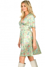 Notes Du Nord |  Silk floral dress Odeon | green  | Picture 5