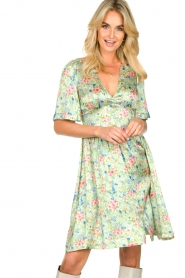 Notes Du Nord |  Silk floral dress Odeon | green  | Picture 2