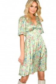 Notes Du Nord |  Silk floral dress Odeon | green  | Picture 4