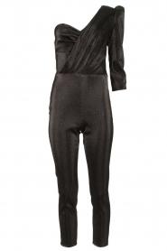 ELISABETTA FRANCHI |  Metallic one-shoulder jumpsuit Kyana | black  | Picture 1