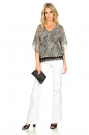 Aaiko |  Printed blouse Bika | black & white  | Picture 3