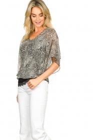 Aaiko |  Printed blouse Bika | black & white  | Picture 5