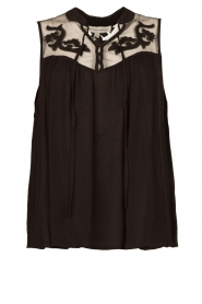 Silvian Heach |  Sleeveless top with lace Krasnodar | black  | Picture 1