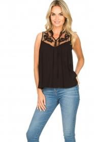 Silvian Heach |  Sleeveless top with lace Krasnodar | black  | Picture 2